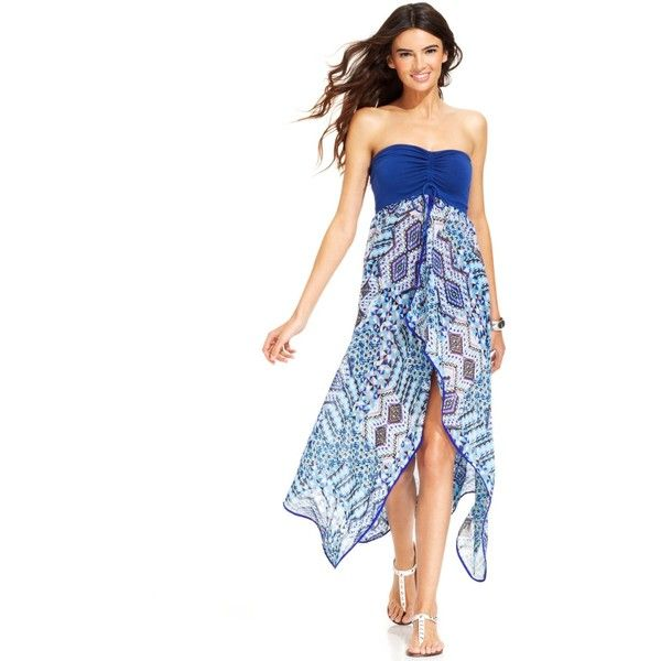 Raviya Strapless Printed Maxi Dress Cover Up Women's Swimsuit ($28) ❤ liked on Polyvore featuring swimwear, cover-ups, blue, swim suit cover up, maxi swim cover up, swimsuit cover ups, swim suits and blue bathing suit