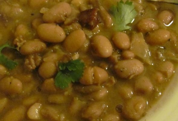 Crock Pot Frijoles Charros or Mexican Cowboy Beans make them the night before so they're done in the am, then transfer to bigger olla