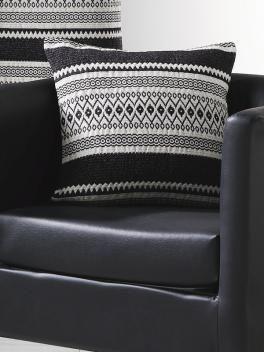 Coussin noir et blanc jacquard ethnique - Art of Life
