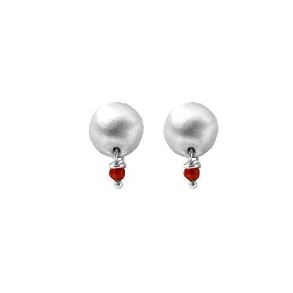 Tiny Stud earrings agate earrings Silver by ChenFuchsJewelry