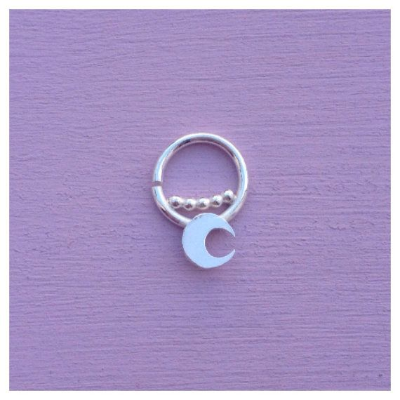 Mini-moon Septum Jewelry Ring Piercing Daith Rook Tragus Sterling Silver