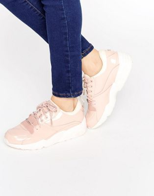 Puma R698 Trainers In Patent Nude