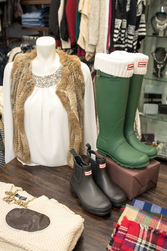 Cozy winter wear! Our Hunter Boots and Fur vests are fan favourites.