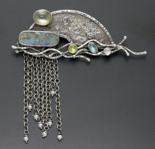 Waterfall brooch (silver, pearl, bolder opal, moonstone and tourmaline) by Susan Thornton
