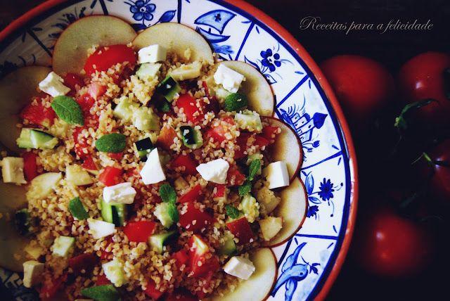 Receitas para a Felicidade!: Salada de Bulgur com Tomate, Pepino e Queijo Feta
