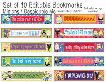 This Minions and Despicable Me Bookmark set includes 10 cute theme bookmarks in small, medium and large. Included are the small, medium and large blank images that can be used as Shelf Markers or Desk Name Plates as a PDF file, as well as medium and large editable bookmarks as a PowerPoint file.