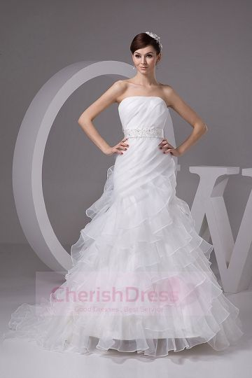A-line Ruffles Layered Ribbon Sash Bow Tie Court Train Wedding Dress - Wedding Dresses - WEDDING APPAREL