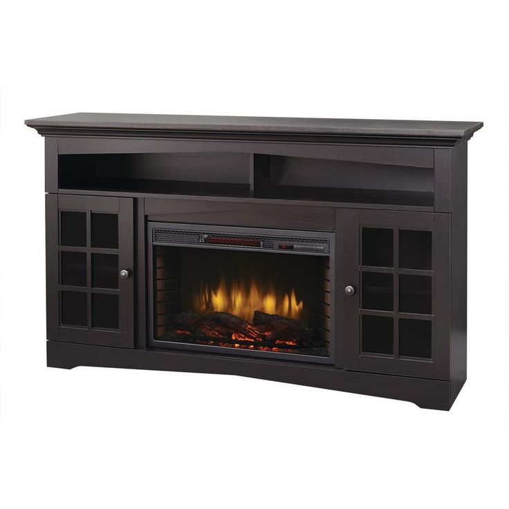 Avondale Grove 59 In Media Console Infrared Electric Fireplace In Aged Black Electric Fireplaces