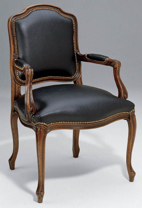 beech wood and black leather armchair in walnut finish
