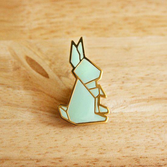 broche lapin en origami