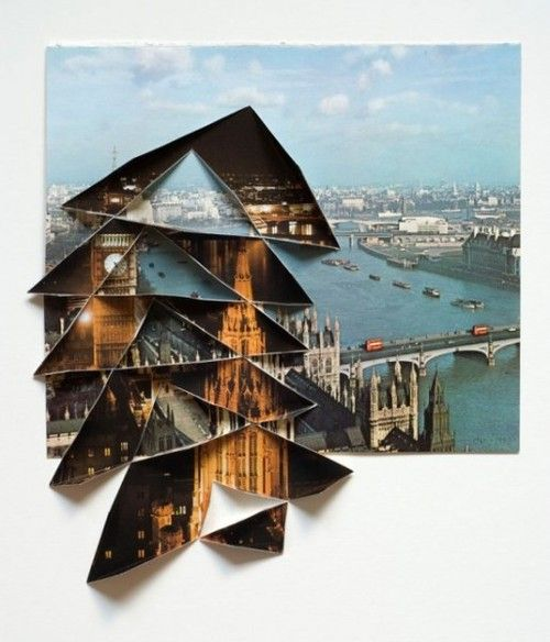 Abigail Reynolds has used the collage technique to portray her ideas of a city evolving by placing a image representing the present/future on top of an image taken before. The use of the composition with the two photographs makes the more recent photo seem prominent. This is what conveys the idea of a city evolving