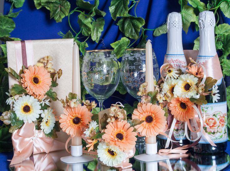 """Luxe color 2015. Уникальное сочетание модных оттенков peaches+champage+cream в свадебном комплекте """"Золото Герберы"""". Декор: цветы ручной работы, атласные ленты, жемчуг. #свадьбы #атрибуты #аксессуары #комплект #ручнаяработа #золото #персиковый #герберы #soprunstudio"""