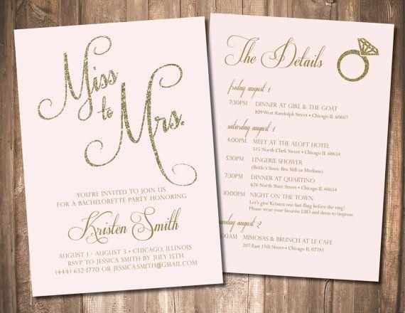 Bachelorette Invitation, Bachelorette Party Invite, Bachelorette Itinerary Invite, (Customizable & Printable) Gold, Blush Pink, Mint, Black