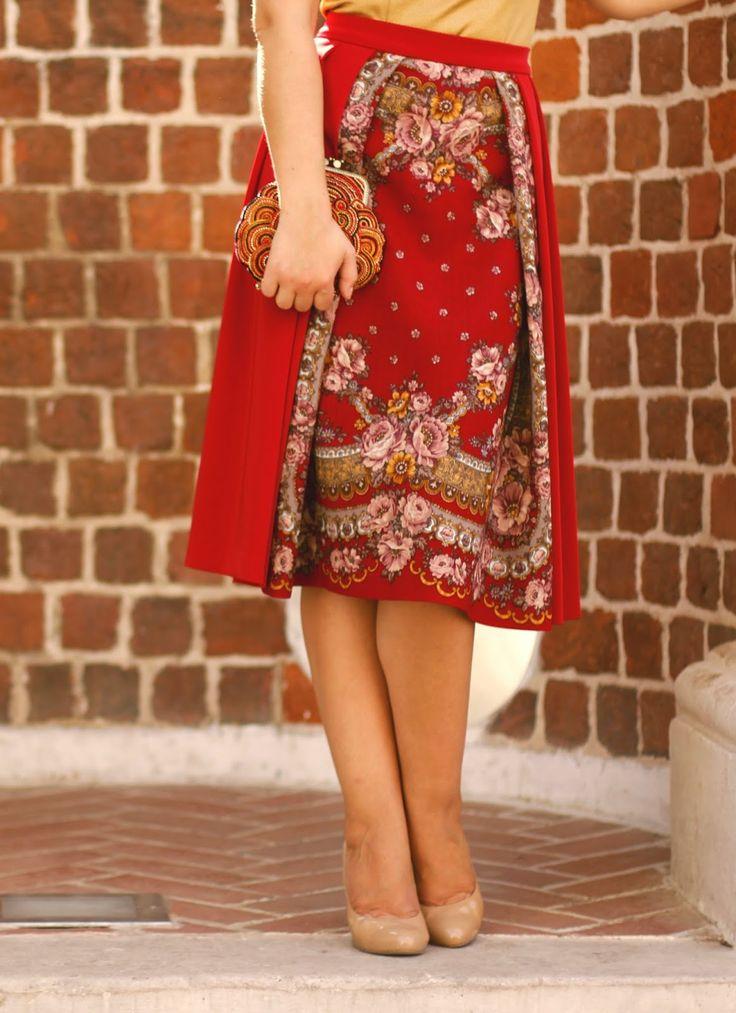 Блог Агнии Балабан: Новая юбка из павлопосадского платка