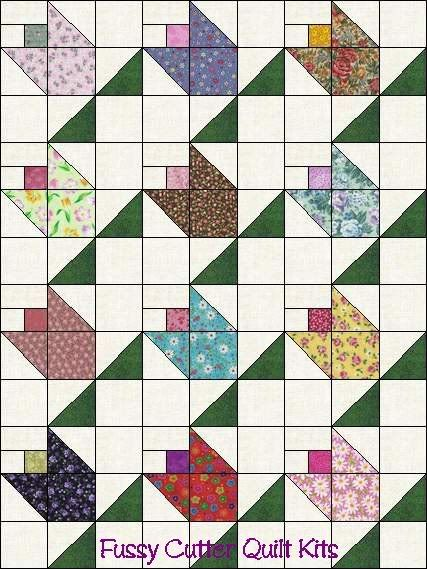 Flower Buds Pattern Grab Bag Calico Fabric Easy Pre-Cut Quilt Blocks Top Kit