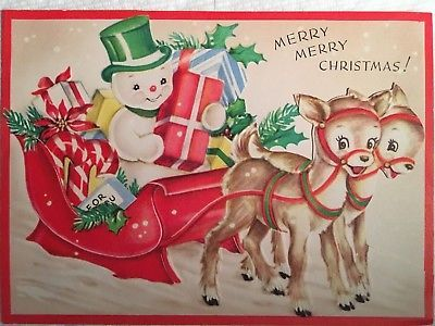 Vintage Mcm 3D Snowman Reindeer Sled Xmas Presents Christmas Card