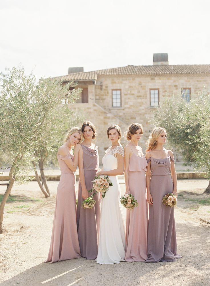 Bride: Hayden Gown by @jennyyoo   Bridesmaids: Crepe De Chine Bridesmaid Dresses also by @jennyyoo Photography: Caroline Tran   Florals: Coco Rose Design   Venue: Sunstone Winery   Hair + Makeup: TEAM Hair & Make-up
