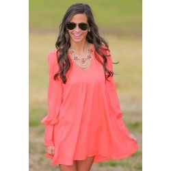 Waiting For Sunrise Tunic-Hot Coral - $42.00