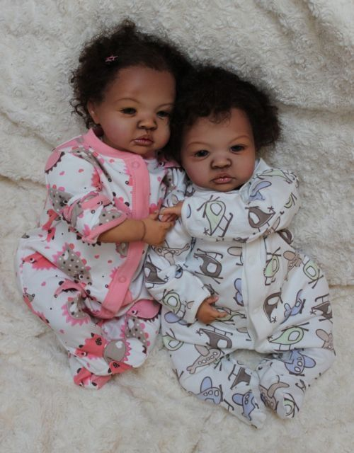 Twin Reborn Dolls | ... for Black AA Baby Reborn Ethnic Biracial Shyann Twin