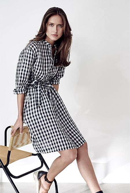 Gingham Linen Shirt Dress