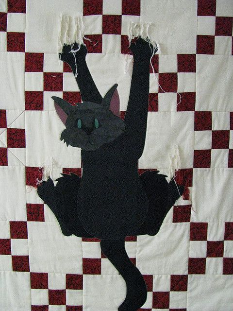 Cat Claw Quilt by Marion Patterson - truthfully, I have quilted like this before and I have the clawed up quilts to prove it!
