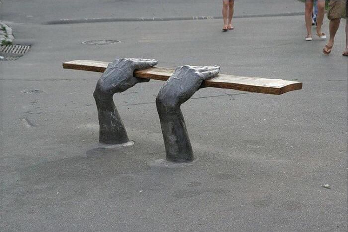 Interesting outdoor seating. If people are walking past this they will know what it is immediately.