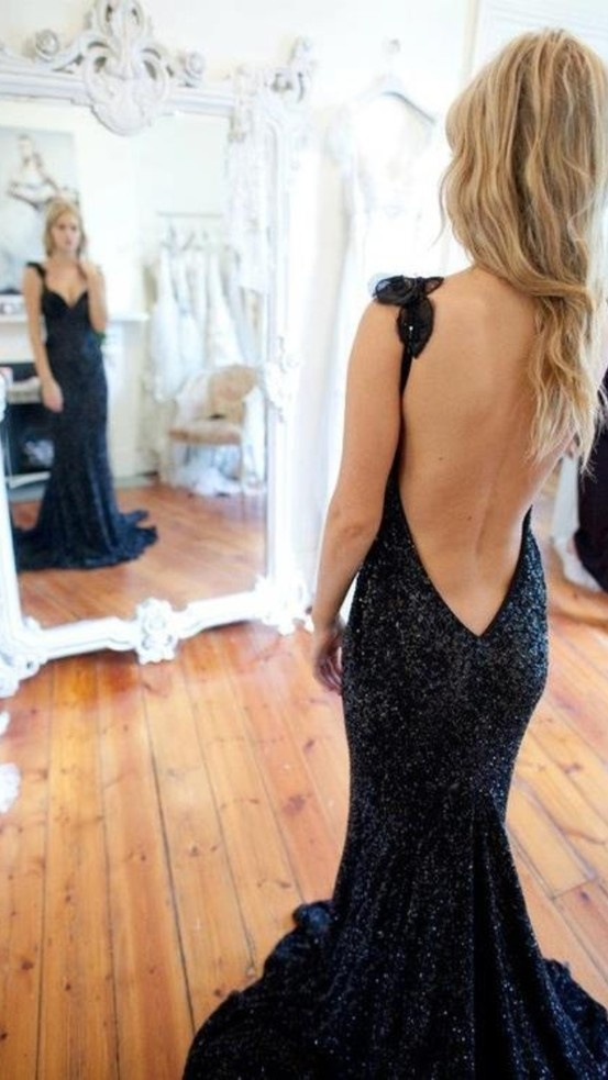 Gorgeous open back dark blue sequin gown, by Chinese designer.