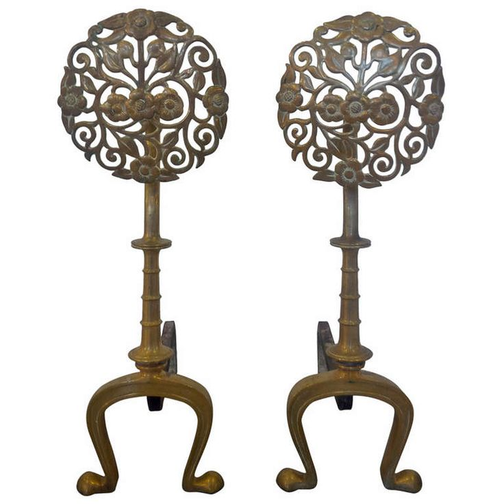 Floral Sunburst Brass Andirons | From a unique collection of antique and modern andirons at https://www.1stdibs.com/furniture/building-garden/andirons/