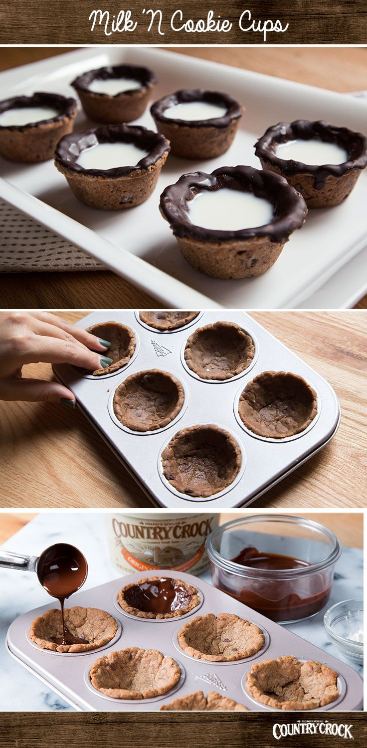 Milk and cookies unite in one delicious and creative treat! Your kids will love to help out with this fun, easy recipe. Start off by lightly kneading the cookie dough into small balls, then press and mold portioned dough into a cupcake tin. Bake, and then let them cool. Heat dark chocolate until it resembles a liquid and glaze the top of the cookies. When chocolate hardens, pour milk into the cookie cups. It's the best of both worlds!