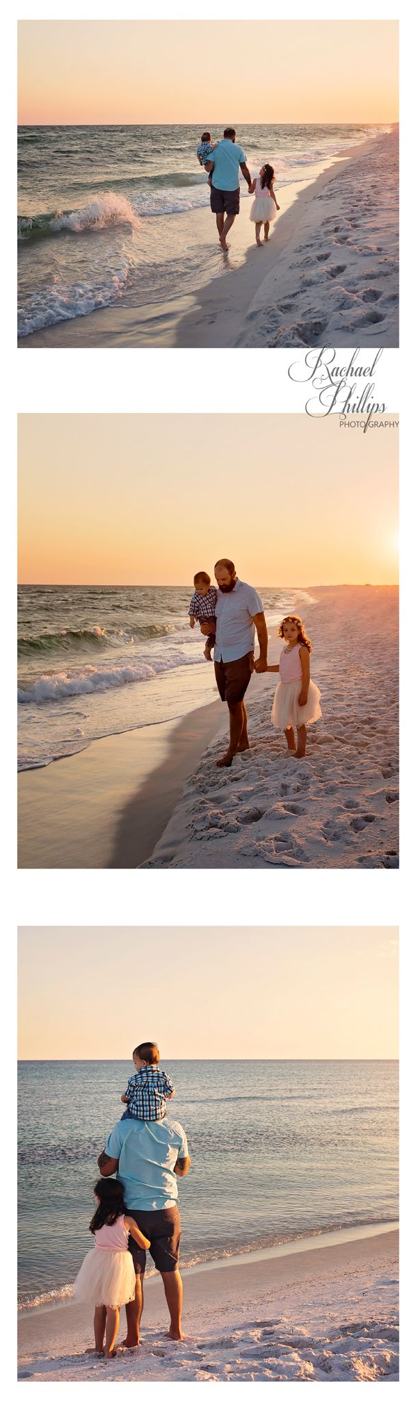 Rachael Phillips Photography  l  2016  l  Navarre, FL   Father Kids Beach Photo, Father Daughter, Father Son