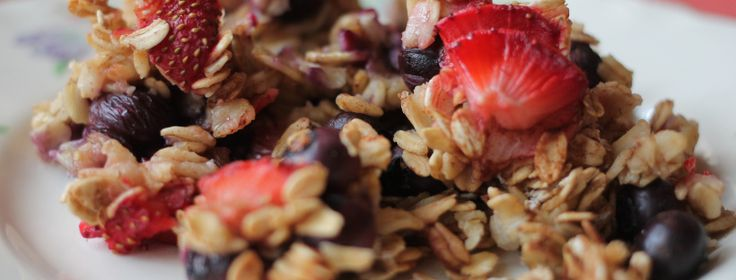 Baked Fruit Oatmeal with Coconut & Chia Seeds