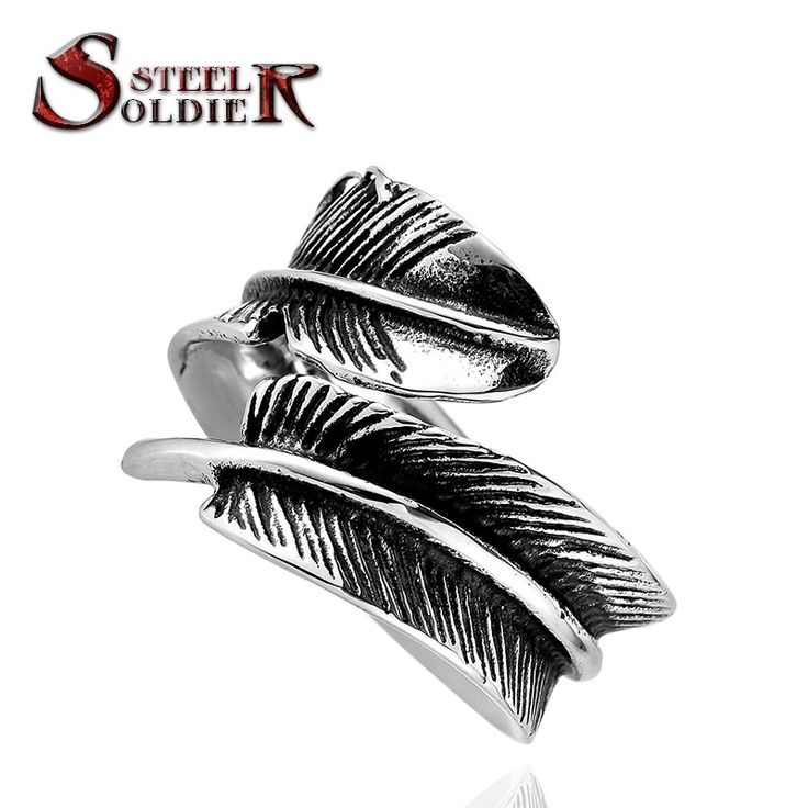 Steel soldier stainless steel men adjustable feather ring men opening fashion popular jewelry titanium steel ring