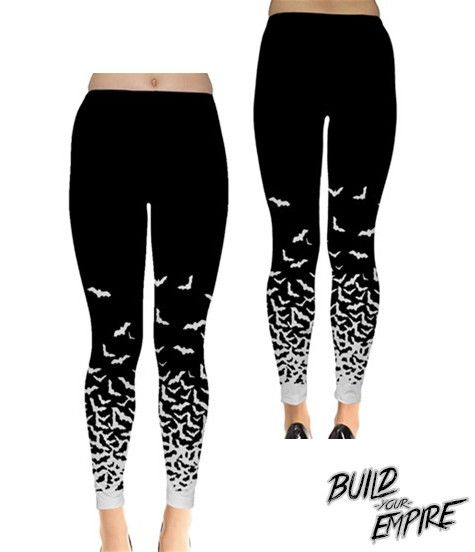 "Morticia Addams would be jealous of such leggings - bats take wing from the ankle to mid thigh, these leggings are the perfect blend of ""classic goth"" and ""nu wave pastel goth"". Available in full tigh"