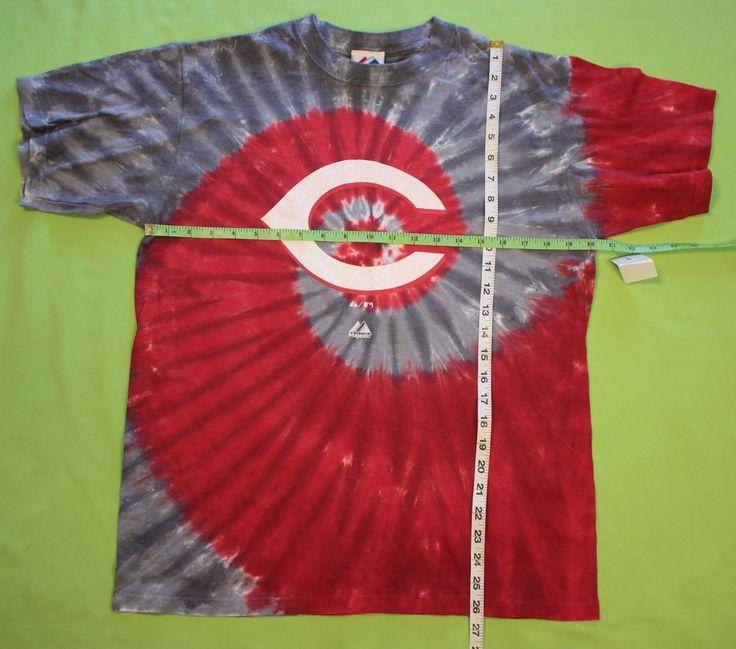 Cincinnati Reds T Shirt Sz M Tie Dye Majestic Tee Baseball MLB Red Gray White #Majestic #GraphicTee