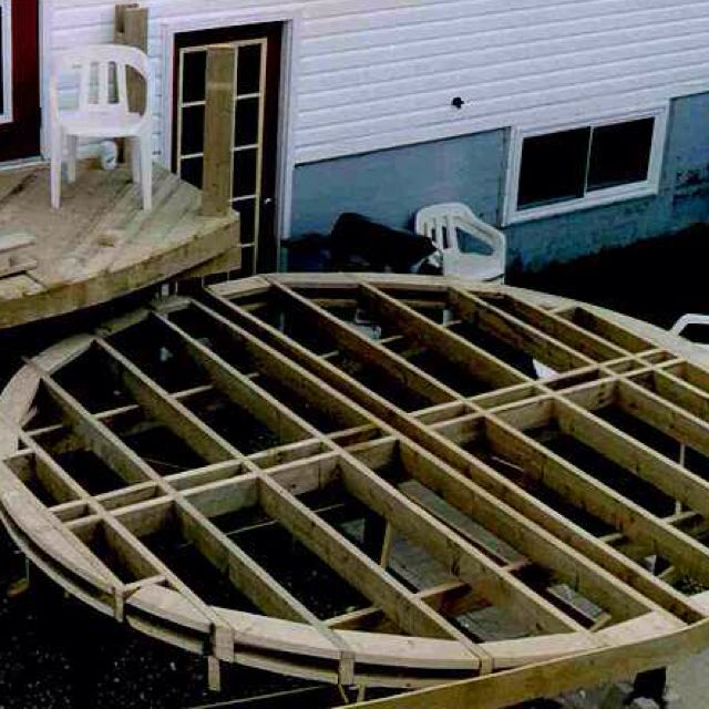 I was planning on building a round deck with a custom fabbed metal railing - hardest part will be the railing.