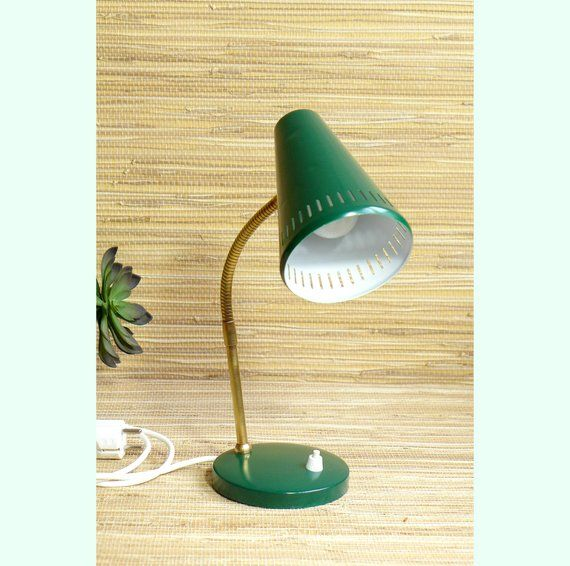 Bedside Lamp Green Table Light Night Light Mid Century Modern Mcm Vintage 1950s 1960s Desk Lamp Industr Bedside Lamps Green Lamp Industrial Desk Lamp