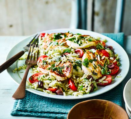 This affordable dish featuring slightly salty, herby halloumi is a great meat free meal. Any leftovers make a great take-to-work lunch for the next day