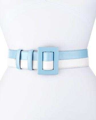 Two-Tone Leather Belt, Wedgwood/White by Oscar de la Renta at Neiman Marcus.