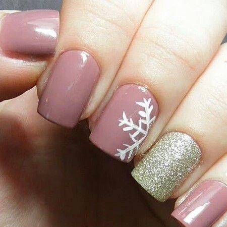 Holiday nails mauve pink gold shimmer glitter snowflake