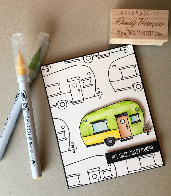 Glamper Greetings, Stampin Up, 2016 Holiday Catalog, Zig Clean Color Real Brush Markers, The Stamp Cycle