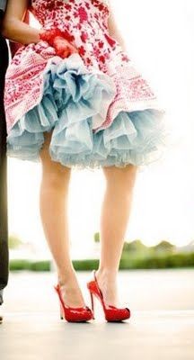 petticoat /  I love red this color combo and I love a petticoat. : Colors Combos, Kids Dresses, Blue Petticoats, Red Shoes, Colors Palettes, Fun, Colour Palettes, The Dresses, White Prints
