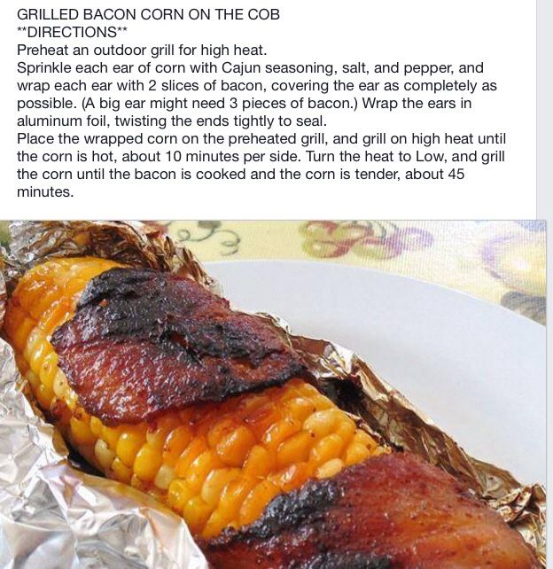 Grilled Corn on the Cob wrapped in in bacon