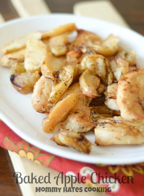 Baked Apple Chicken  | Comforting fall dinner recipe using seasonal foods.