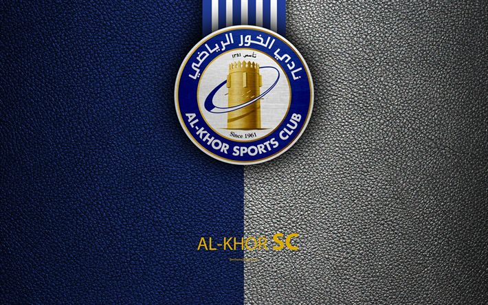 Download wallpapers Al Khor SC, 4k, Qatar football club, leather texture, logo, Qatar Stars League, Doha, Qatar, Premier League, Q-League