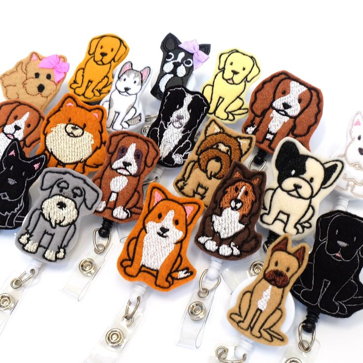 Lots of new breeds added for all the dog lover BadgeBlooms fans!  Veterinarian Gifts Vet Tech Badge Reels Felt Badge Holders Animal Badge Clips www.badgeblooms.etsy.com