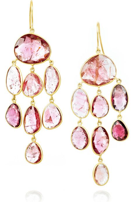 18-karat gold jellyfish drop earrings with pink tourmaline stones
