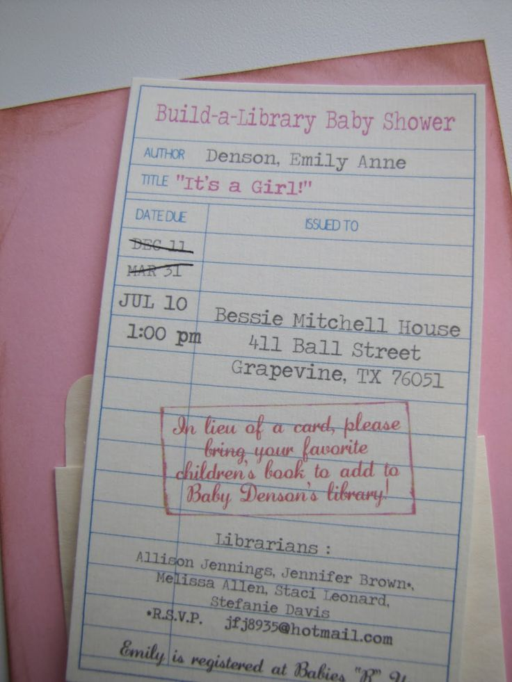 Library Book Invite! So Cute, And Dang It, I Just Sent Out Baby
