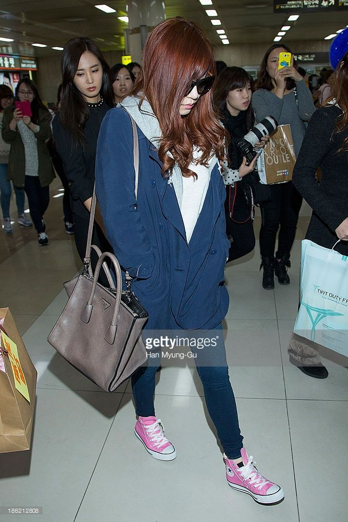 Tiffany of South Korean girl group Girls' Generation is seen upon arrival at the Gimpo Airport on October 28, 2013 in Seoul, South Korea.