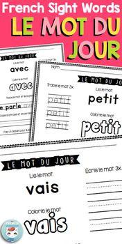 French Sight Words: mots fréquents | Le mot du jour