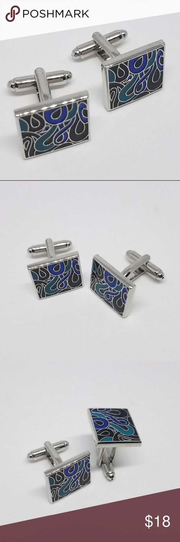 Blue Design Cufflinks This pair of Blue Cufflinks will add that finishing touch to any style and make a great complimentary accessory to any professional suit.  •High quality material: rhodium plated with hand polish finish.  •Cufflinks come with a beautiful cufflink box. •Easy to fasten, comfortable to wear and very long-lasting.  •Strong bullet back closures, bowed front, nickel-plated.  Its a perfect accessories to your french cuff shirts !!!! Accessories Cuff Links